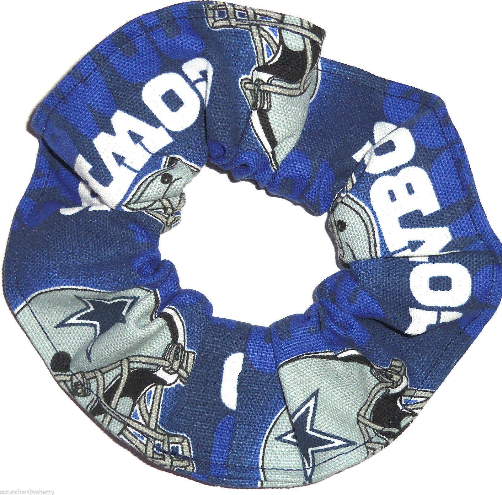 Dallas Cowboys Blue Glow Duck Cloth Fabric Hair Scrunchie Scrunchies by Sherry  - $6.99