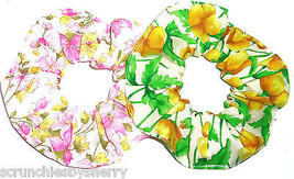 Floral Pink Green Yellow on White Fabric Hair Scrunchies by Sherry Lot of 2 - $12.95