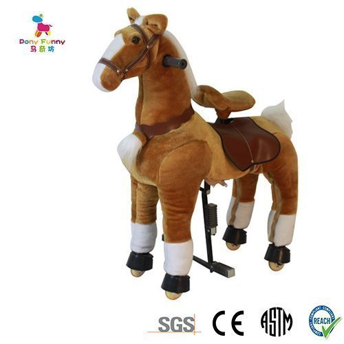 Primary image for Golden Tan Meddium size Pony Rocking Horse for ages 5-10 Ride on Cycle with T...