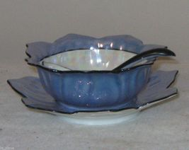 Noritake Blue Hand Painted Lustreware Sauce Bowl With Spoon And Underplate Japa - $31.37