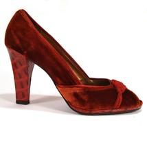 Cole Haan Women's Shoes Burgundy Red Velvet Peep Toe Pumps Embellished 7... - $51.25