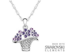 Made with Swarovski Elements Purple Flower Basket Pendant and Necklace -... - $214,17 MXN