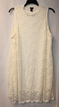 FANCY NEW WOMENS PLUS SIZE 3X IVORY OFF WHITE HIGH NECK LINED LACE SHIFT... - $19.33