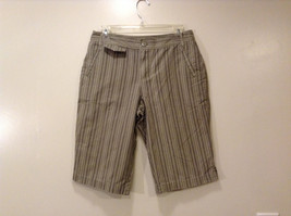Brand Unknown Women's Size 6 Bermuda Shorts w/ Side Pockets Taupe Gray Striped