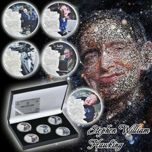WR 5pcs 2018 Stephen Hawking Silver Foil Commemorative Coin For Collection - $15.29