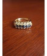 14K YELLOW GOLD 1/2 CT SAPPHIRE & DIAMOND 3-ROW CLUSTER RING 4.4 GRAMS  ... - $282.15