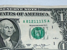 2013 $1 One Dollar Bill US Note Fancy Serial # Number 5 #1 81211115 Bank Boston - $12.95