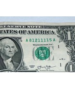 2013 $1 One Dollar Bill US Note Fancy Serial # Number 5 #1 81211115 Bank... - $12.95
