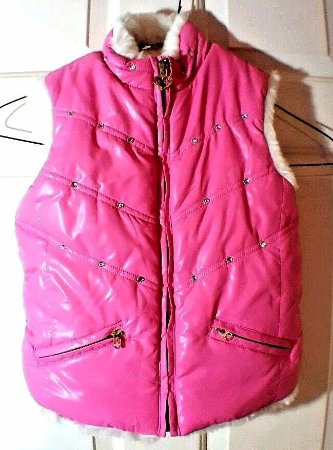 Childrens Place Pink Studded Puffer Reversible White Faux Fur Glitter Vest S 5/6 - $24.74
