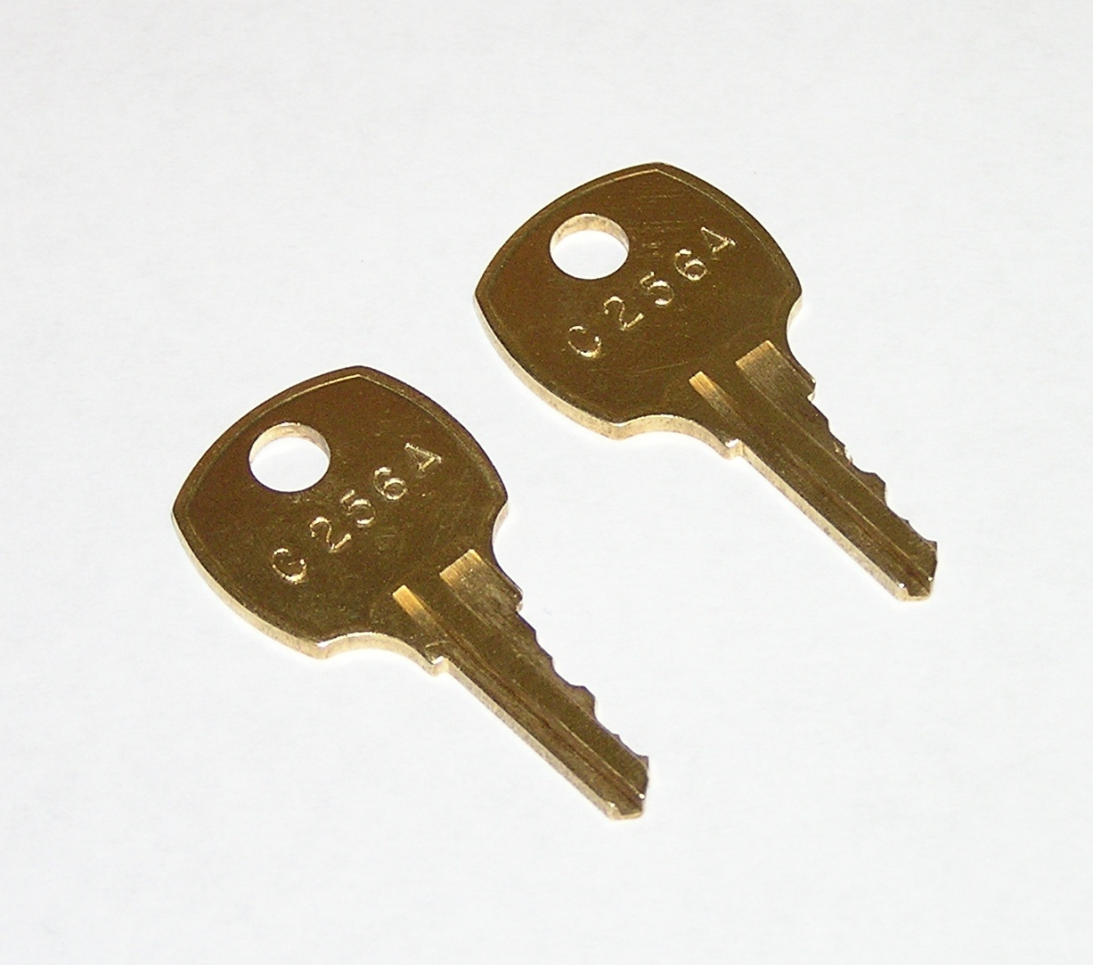 Primary image for 2 - C256A AMI Rowe Jukebox Brass Replacement Cabinet Keys fit CompX National