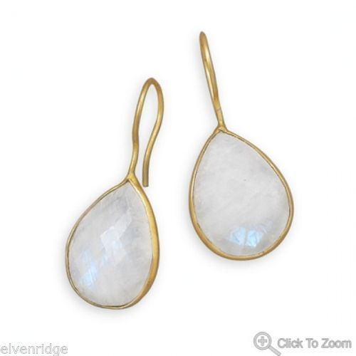 14 Karat Gold Plated Rainbow Moonstone Earrings Sterling Silver base
