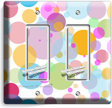 Abstract Pastel Polka Dots Double Gfi Light Switch Wall Plate Cover Baby Nursery - $10.79