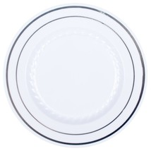 "9"" Premium Heavy Duty Plastic Dinner Plates White with Silver trim (12pcs) - €8,41 EUR"