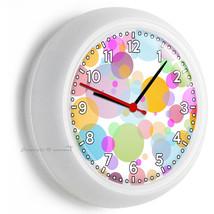 Abstract Pastel Red Green Blue Purple Pola Dots Wall Clock Baby Nursery Ny Decor - $21.05