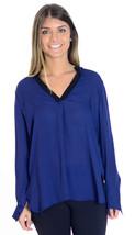 New! 2 Vince Stellar Colorblock Navy Blue And Black 100% Silk Long Sleev... - $185.13