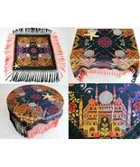 Vintage Taj Mahal Piano Scarf Shawl Tablecloth Black Silk Brocade WWII - $67.95