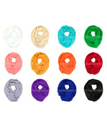 Solid Color Light Weight Thin Infinity Scarf Gold Glitter Circle Loop Fashion - €6,33 EUR