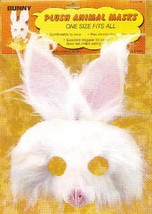 FURRY WHITE 3/4 BUNNY MASK with LATEX NOSE & TEETH - $6.00