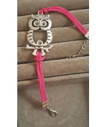 PINK SUEDE OWL CHARM BRACELET COMBINED SHIPPING - $2.99