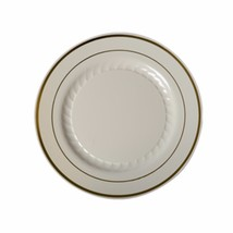 "6"" Salad/Desert Ivory Plates Premium Heavy Weight Plastic with gold trim... - £4.67 GBP"