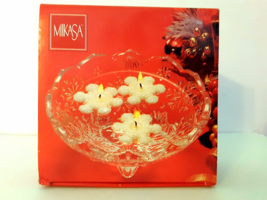 Mikasa Christmas holiday glass crystal candle holder floating tea lights... - $19.48