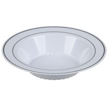 12 oz. Bowl White Premium Heavy Weight Plastic with silver trim(1 case) - $126.66