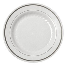 "7"" Salad White Plates Premium Heavy Weight Plastic with silver trim(15pcs) - £6.02 GBP"