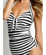 Seafolly Seaview Tie Front Halter Maillot - Black, Small - £36.13 GBP
