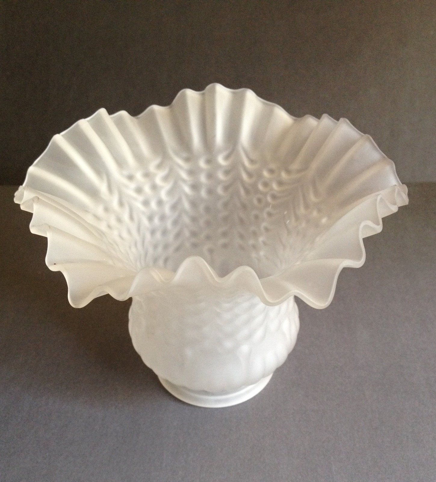 Vintage Frosted Fluted Hobnail Glass Globe Ceiling Fan Light Fixture, Home Decor