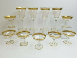"11 Gold Band Rim MCM (4) 7 3/4"" Wine (7) 3 1/2"" Champagne Art Deco Elega... - $69.17"