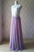 Rustic Wedding Lavender Maxi Chiffon Skirt Lace Top 2-Piece Bridesmaid Dresses image 3