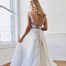 Vintage Princess Beach Bridal Gowns Deep V-neck Lace Appliqued Backless Dress image 2