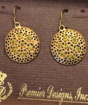 NIB Premier Designs Bamboo Earrings Gold Tone Faux Peridot Dangly Earrings - $20.00