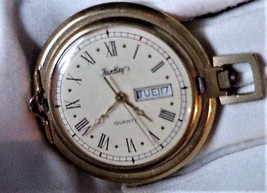 "Vintage Gold-Tone Quartz Pocket Watch ""Huntley's"" Day/Date Working - $65.95"