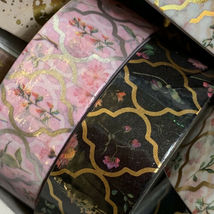 4 Roll Blue Pink Black White Papergeek FLORAL CONSTELLATION Gold Foil Washi 33ft image 4