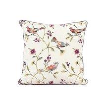 REMSOFT Embroidery Linen Cotton Throw Pillow 18 X 18 Jacquard Bird On th... - $21.56