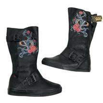 vans reily floral Snakes Black Lace Up Buckle boots Size 5 - $49.49