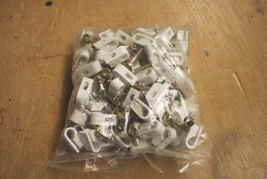 500 NEW CABLETRONIX WHITE DUAL FLEX CLIPS WITH SCREW RG6 WIRE CT-FC2W DUAL CABLE
