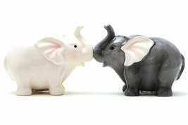 Ceramic Magnetic Salt and Pepper Shaker Set - Elephants They Kiss - $12.86