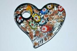 Vintage Murano Millefiori Glass Heart Pendant - $27.61