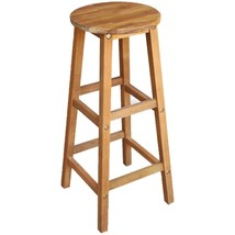 vidaXL 2x Solid Wood Bar Stool Indoor Outdoor High Chair Bistro Pub Rest... - $56.99