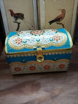 Decorative Tin Hinged Box Chest Small metal - $9.50