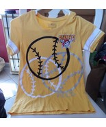 Girl's/Junior black & gold t-shirt w/ silver sparkle size 14 Pittsburgh ... - $12.00