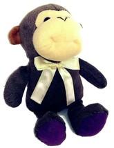 "Puli International Baby Monkey 10"" Brown Plush Stuffed Tan Ribbon Bow VI... - $13.03"