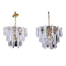 Pair 2 Lucite Smoked Glass Mirror Chandelier Hanging Light Fixture Lamp ... - $2,897.39