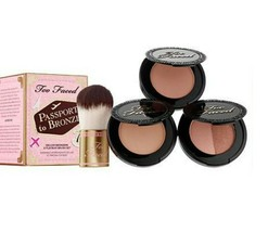 Too Faced Passport To Bronze 3 Deluxe Bronzers & Flatbuki Brush Set BNIB - $25.74