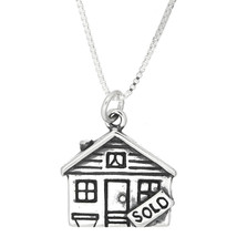 Sterling Silver Realtor House Sold Charm Necklace -with Options - $17.19+