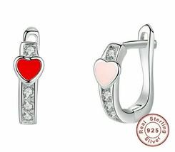 Hoop Earrings Red Pink Enamel Heart Small 925 Sterling Silver Fashion Jewelry - $12.19