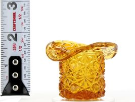Vintage Glass Toothpick Holder Tiny Daisy & Button Hat image 4