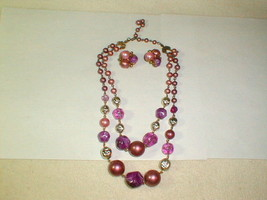 Costume jewelry 1950s necklace earrings set purple swirl beads vintage - $40.00